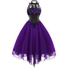 Lace Panel Cross Back Gothic Corset Dress (110 PLN) via Polyvore featuring dresses