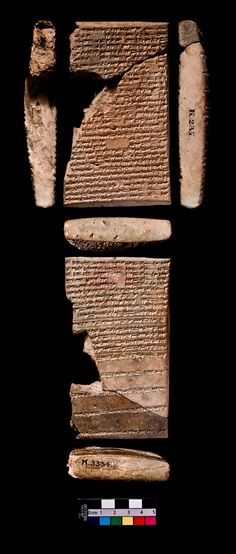 "Library of Ashurbanipal Lower part of a clay tablet, incantation and prayer, beginning of obverse and the end of reverse are broken off, Neo-Assyrian. Findspot: Kouyunjik (Asia,Iraq,North Iraq, (Nineveh) Length: 13.5 cm. (complete (includes all joins))Width: 7.8 cm. (complete (includes all joins))Thickness: 2.6 cm. (complete (includes all joins) Inscription Comment On obverse 25 and on reverse 19 partly mutilated but very distinctly written Assyrian lines. Reverse 11 forms a ""colophon-line""."