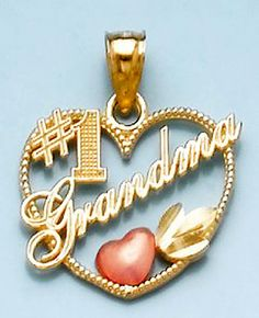 RP:  Gold Charm #1 Grandma In Heart Frame With Pink Heart - amazon.com