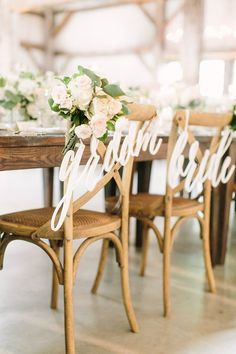 Items similar to Bride Groom Chair Signs for Wedding, Hanging Chair Sign Wooden Wedding Signs Bride & Groom Large Calligraphy Chair Signs (Item - on Etsy Wedding Chair Signs, Wedding Chair Decorations, Wooden Wedding Signs, Wedding Signage, Wedding Chairs, Wedding Decor, Wooden Signs, Wedding Centerpieces, Wedding Table