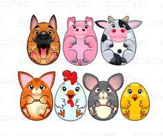Engraçado · animais · como · ovos · desenho · animado · vetor - ilustração de vetor © Danilo Sanino (ddraw) (#4994986) | Stockfresh