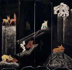 Jean Dunand Fantastic Animals Screen - ca. 1926 (Jean Dunand & Jean Lambert-Rucki) http://thecoincidentaldandy.blogspot.fr/2010/12/decorative-lacquerware-art-of-jean.html
