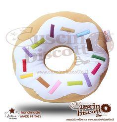 Cuscino Biscotto - Ciambella Glassata / Donuts Bianco (Fatto a mano in Italia)