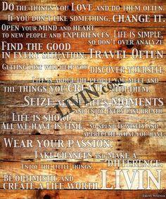 Create A Life, Wood Panel