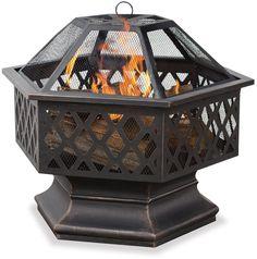 UniFlame Hex Shaped Outdoor Fire Bowl w Lattice Yard Patio Deck Fireplace New #Uniflame