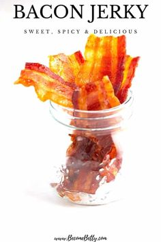My Bacon Jerky recipe is sweet and spicy with the delicious texture of bacon without being crumbly. This recipe is sweet, spicy, and delicious. Jerky Recipes, Bacon Recipes, Smoker Recipes, Yummy Appetizers, Appetizer Recipes, Snack Recipes, Bacon Jerky, Beef Jerky, Candied Bacon