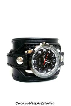 Black Wrist Watch, Leather Men's watch, Leather Cuff, Bracelet Watch, Watch Cuff