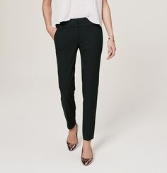 """Cut pencil straight for a polished look, this slim ankle pair is done in our structured stretch that smoothes and improves in all the right places (in other words: your go-to for superbly sleek). Your perfect fit if your hips are proportionate to your waist. Zip fly with hook and bar closure. Belt loops. Slash pockets. Back button through welt pockets. 28"""" inseam."""