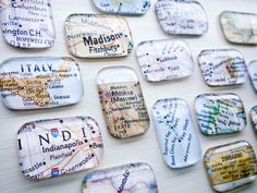 Glass magnets with maps from travel destinations used. This would be a cute idea for international convention gifts (with emails to keep in touch on the back. Map Crafts, Travel Crafts, Resin Crafts, Jw Gifts, Craft Gifts, Craft Show Ideas, Geocaching, Craft Fairs, Making Ideas