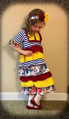 *New! Girls Autumn Ruffle Layered Dress Sizes 2-14