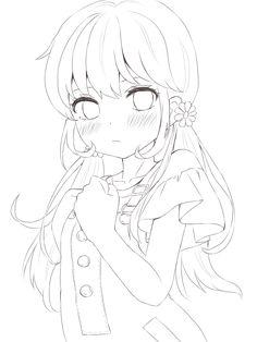 Chibi Girl Drawings, Cartoon Girl Drawing, Anime Drawings Sketches, Anime Sketch, Anime Art Girl, Manga Art, Kawaii Anime, Little Boy Drawing, Lineart Anime