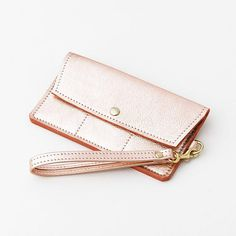 Rose Gold iPhone Wallet Large Metallic Leather Cell Phone