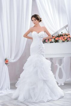"""Wedding dress by Belleza e Lusso. Collection """"Piano"""" / Свадебное платье от Belleza e Lusso. Summer Time, One Shoulder Wedding Dress, Evening Dresses, Tulle, Marriage, Wedding Dresses, Piano, Inspiration, Collection"""