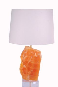 Orange Calcite Lamp - Style 3 // available at www.handcutdesign.com Table Lamp, Orange, Lighting, Home Decor, Style, Swag, Decoration Home, Light Fixtures, Room Decor