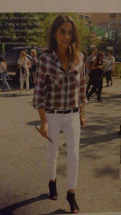 Denim shirt and white jeans