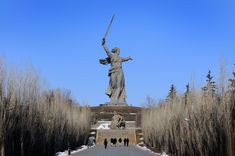 "Mother Russia Statue, Russia. ""The Motherland Calls.""  The statue was built to memorialize the Battle of Stalingrad between the Soviet Union and Nazi Germany in between the years 1942-1943. The statue was completely built in 1967 and considered the world's tallest structure with a total height of 85 meters. The statue measures 52 meters high and the sword in the statues hand measures about 33 meters. It is located atop Mamayev Kurgan, in Volgograd, Russia, 50 miles from the Volga River."
