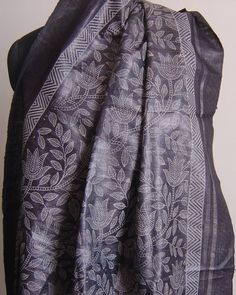 Ghicha Tussar silk charcoal dupatta with block print. For orders and inquiries, please mail us at naari@aninditacreations.com.  Like our page at www.facebook.com/naari.aninditacreations