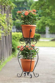 Double Pot Garden Plant Stand by SunHillGardenDesigns on Etsy, $21.99