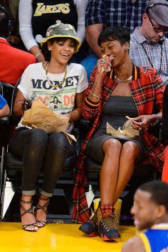 Rihanna - Celebrities At Basketball Games - Elle