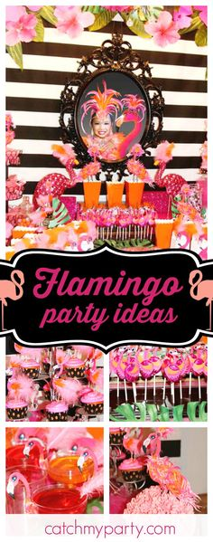 Celebrate with style with a flamingo birthday party like this one!! The cupcakes are adorables!!! See more party ideas and share yours at CatchMyParty.com