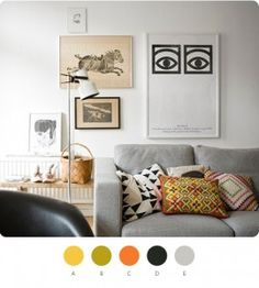 Gray neutral background for some wonderfully curated textiles and art
