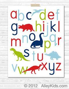 Alphabet Poster Dinosaur Nursery Art Children's Art by AlleyKids