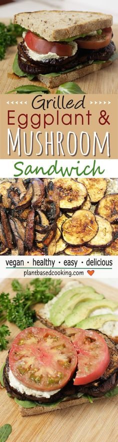 Grilled Eggplant & Mushroom Sandwich - Together, this sandwich is not only delicious, flavorful and satisfying, but it is also an amazing way to feed your body with a punch of immune-boosting goodness. #vegan recipe #plantbased #wfpb #vegan #vegansandwich