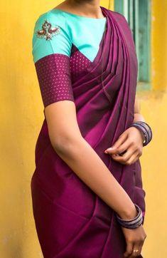 Buy Magenta pink Colored Silk Fabric Wear Beautiful Saree With Designer Blouse - Saree Blouse Neck Designs, Simple Blouse Designs, Stylish Blouse Design, Bridal Blouse Designs, Designer Blouse Patterns, Sumo, Design Cars, Women Models, Green Saree