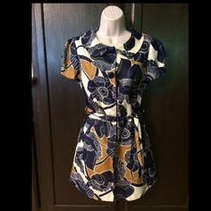 Blue & yellow dress/ top with belts. Like new. M. Blue & yellow dress/ top with belts. Like new. M Dresses Midi