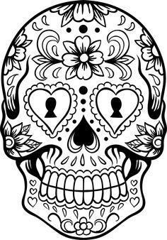 Dia De Los Muertos Coloring Pages | Sugar Skull Version 6 Wall Vinyl Decal Sticker Art Graphic Sticker ...