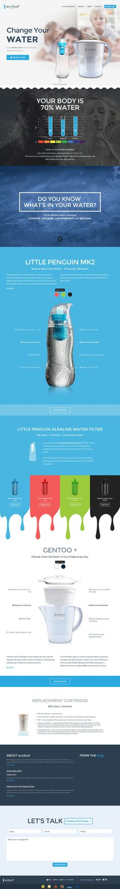 """Good looking responsive landing page for 'Ecobud' - a water filter product. Quite like that color changing feature in the """"Little Penguin MK2' section that changes the background color as well."""
