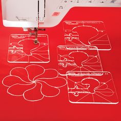 Stitch fancy feathers in a perfect circle on your home sewing machine. No longarm machine needed. This expansion pack is designed to be used with a previously purchased Ruler Foot and Template Set - Spin-E-Fex Feather Template Expansion Pack - Nancy's Notions - Ruler Foot Quilting - Sew Steady