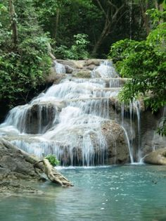 Erawan Falls in Kanchanaburi Thailand.  I broke my wrist because I slipped and fell all the way down that waterfall.  Oooooooops... :-D