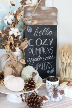 Join in this fun fall home tour! Come by for a visit of our farmhouse style fall dining room decorated with muted blues and pops of golden yellow. Fall Home Decor. Fall Door Decorations, Thanksgiving Decorations, Fall Home Decor, Autumn Home, Rustic Outdoor Decor, Farmhouse Decor, Farmhouse Style, Rustic Style, Diy Pumpkin