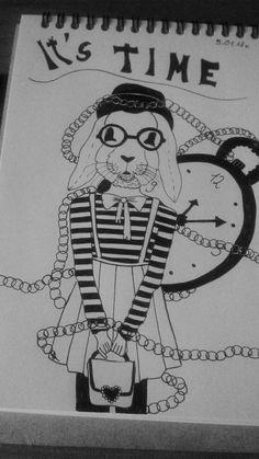 #rysunek #draw #królik #rabbit #lineart #blackandwhite #girl #dziewczyna