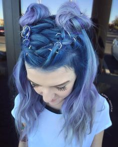 pastel blue and purple half up double buns. love these hair piercings.