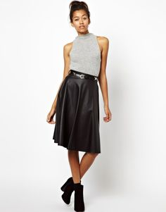 River Island | River Island Coated Full Midi Skirt at ASOS