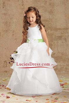 Flower Girl Dresses Ball Gown Scoop Floor Length Organza US  89.00  LCPJKAAQTB f812b56e8283