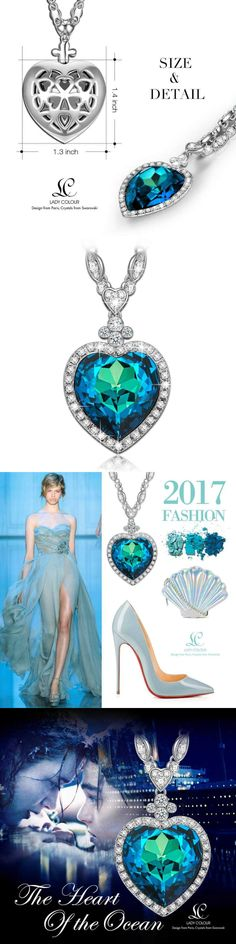 Valentines Jewelry: Ladycolour Valentines Day Gifts For Women Heart Of The Ocean Titanic Sapphire -> BUY IT NOW ONLY: $59.25 on eBay!