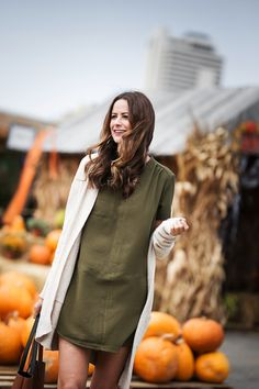 the miller affect wearing an olive dress for fall fashion