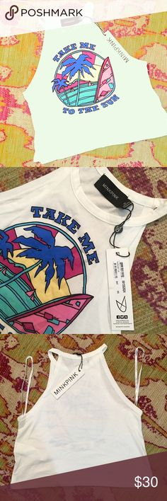 💋MINKPINK NWT Take Me Away Top NWT cropped 'muscle style' tank top. MINKPINK Tops Muscle Tees