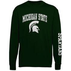 Michigan State Spartans Youth Distressed Arch & Logo Long Sleeve T-Shirt – Green - $19.99