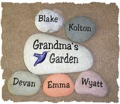 "Make these Rocks.  But say ""My Family Rocks""  then everyones names.  Cute for Rock garden.  Paint names on."