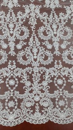 Ivory lace fabric, Embroidered lace, French Lace, Wedding Lace, Bridal lace, White Lace, Veil lace, Lingerie Lace, Alencon Lace by the yard Curtain Patterns, Textile Patterns, Embroidered Lace, Lace Applique, Embroidery Designs, Bridal Lace, Wedding Lace, Wedding Dress, White Lace Fabric
