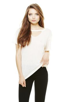 Super chic Mosshart cutout tee by LNA. Cute with denim! Check it out at The Mercantile Shop!
