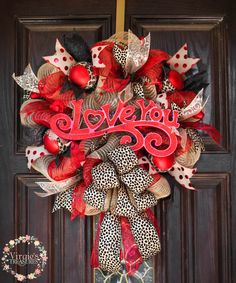 Valentine's Day Wreath-Love You-Animal Print by VirgiesTreasures on Etsy
