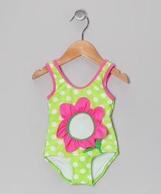 Take a look at this Green Polka Dot Flower One-Piece - Infant, Toddler & Girls by Candlesticks on #zulily today!