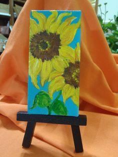 Yellow Sunflowers Original on aqua mini by SharonFosterArt on Etsy, $22.00