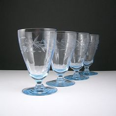 "Ice Blue Glass Goblets, Cut Design, Paneled Optic, Vintage c1940s, 4-1/4 Tall"" Holds 6 oz, Set of 4 Barware Glasses"