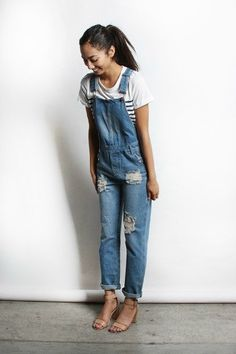 Denim washed overalls // perfect for all body types. Model is wearing a small Made in the USA